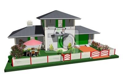 Villa con Giardino e Garage-House with Garden-3d