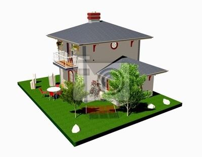 Villa Villetta con Amaca-House With Plants and hammock-3d-3