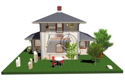 Villa Villetta con Amaca-House With Plants and hammock-3d