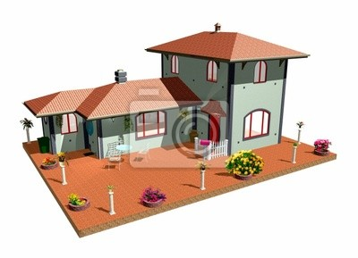 Villa Villetta con Cortile-House With Plants and Flowers-3d