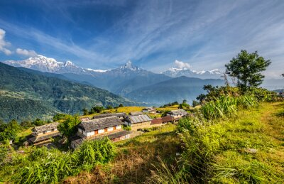 Wall mural Village in the Himalaya mountains in Nepal