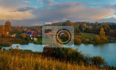 Village located by the lake, panorama.Drawsko Lake District,Poland