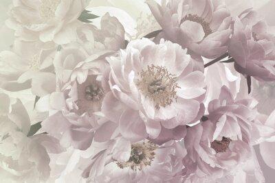 Wall mural Vintage bouquet of beautiful garden flowers peonies. Pastel colors.