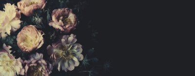 Wall mural Vintage bouquet of beautiful peonies on black. Floristic decoration. Floral background. Baroque old fashiones style. Natural flowers pattern wallpaper or greeting card