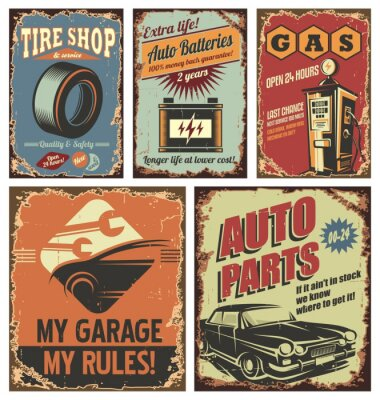 Wall mural Vintage car service tin signs and posters