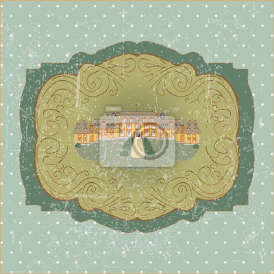 vintage card with old European castle vector