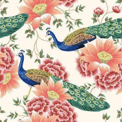 Wall mural Vintage Chinese flower lotus rose, leaves, peacock bird seamless border pink background. Exotic oriental wallpaper.