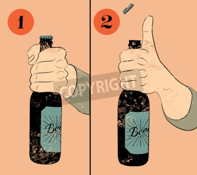 Wall mural Vintage grunge style beer poster. Humorous poster instruction for opening the a bottle of beer. Hand hold a bottle of beer. Vector illustration.