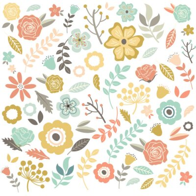 Wall mural Vintage Hand Drawn Flowers Background