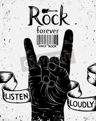 Wall mural Vintage label with rock forever. Rock and Roll hand sign