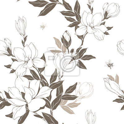 Wall mural Vintage Magnolia flowers and buds. Seamless pattern. Vector Illustration