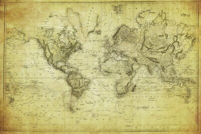 Wall mural vintage map of the world 1831
