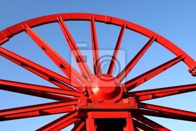 Wall mural Vintage mine shaft pulley wheel. Industrial detail.