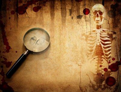 Vintage police, detective and criminalistics background. Skeleton, magnifier, fingerprint and blood on the grunge paper.