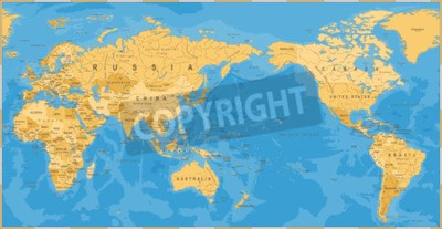 Wall mural Vintage political world map Pacific centered - vector.