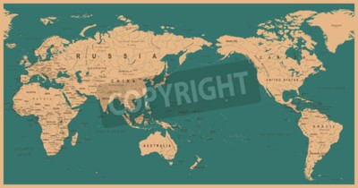 Wall mural Vintage Political World Map Pacific Centered - vector