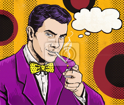 Vintage Pop Art Man with cigarette  and with speech bubble