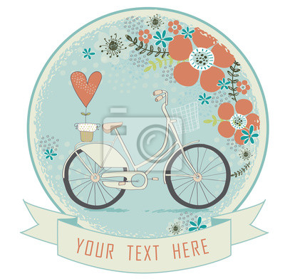 Vintage romantic love card in vector. Love  valentines day card