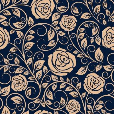 Wall mural Vintage roses flowers seamless pattern