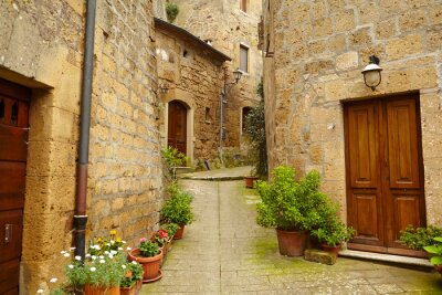 Wall mural Vintage street decorated with flowers, Tuscany, Italy