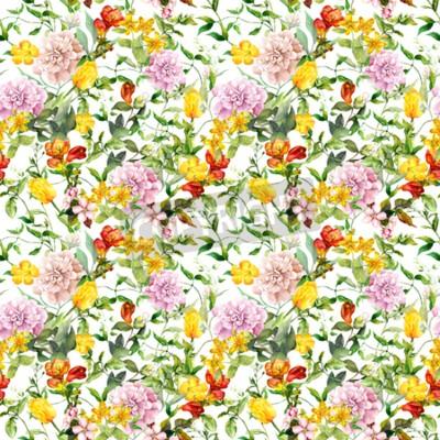 Wall mural Vintage summer flowers, leaves, herbs. Repeating floral background. Watercolor