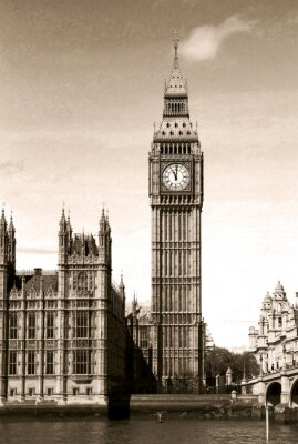 Wall mural Vintage view of Big Ben clock tower London. Sepia toned.