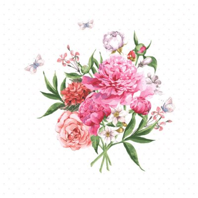 Wall mural Vintage Watercolor Greeting Card with Blooming Flowers and