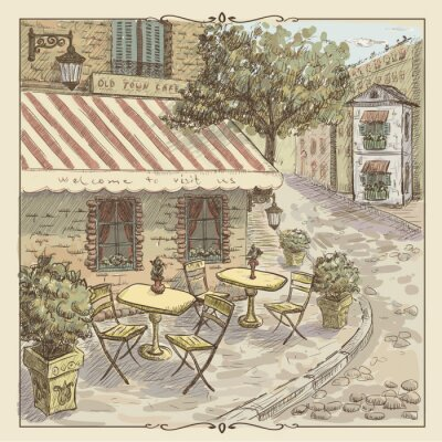Wall mural Vintage watercolor illustration of street cafe in old town