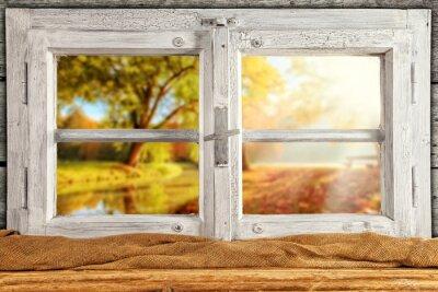 Wall mural Vintage wooden window overlook autumn trees