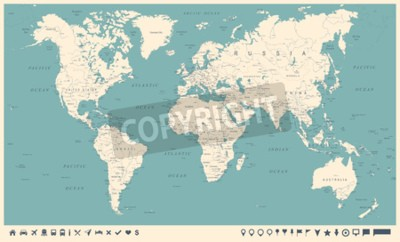 Wall mural Vintage World Map and Markers - Detailed Vector Illustration