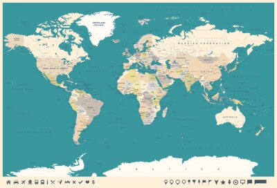 Wall mural Vintage World Map and Markers - illustration