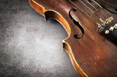 Wall mural Violin music instrument of orchestra closeup