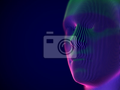 Wall mural Virtual reality or cyberspace concept: model of male face. Digital human or robot head - abstract visualization of artificial intelligence and future technology. EPS 10, vector illustration.