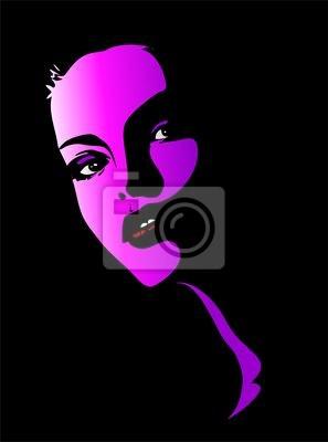 Viso Bella Ragazza Rosa-Beautiful Girl's Pink Portrait-Vector