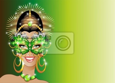 Viso Ragazza Maschera Verde-Green Mask Beautiful Girl's Face