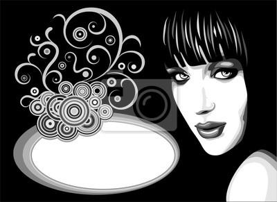 Viso Ragazza Sfondo Ornamento-Girl's Face Ornamental Background
