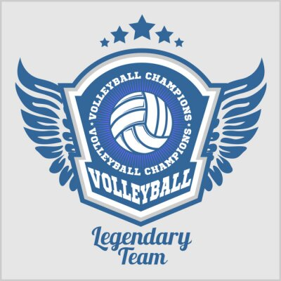 Wall mural Volleyball championship logo with ball. Vector sport badge for tournament or championship