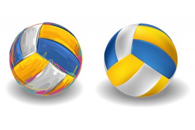 Wall mural Volleyball Isolated on white Background. All elements are in separate layers and grouped.