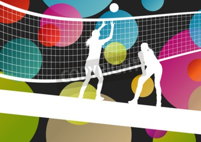 Wall mural Volleyball player silhouettes in sport abstract vector background illustration