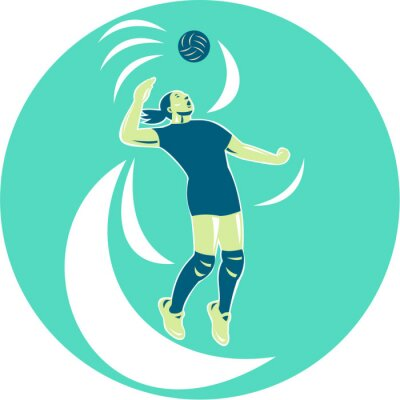 Wall mural Volleyball Player Spiking High Circle Retro