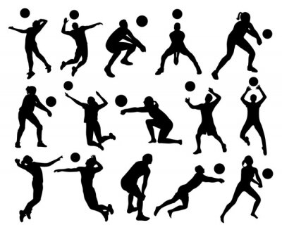 Wall mural Volleyball Silhouettes