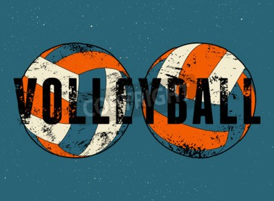 Wall mural Volleyball typographical vintage grunge style poster. Retro vector illustration.