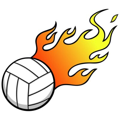 Wall mural Volleyball with Flames