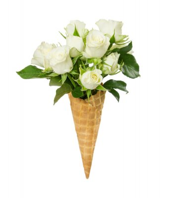 Waffle cone with flower bouquet from white roses isolated on white