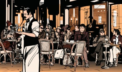 Wall mural Waiter serving customers at traditional outdoor Parisian cafe