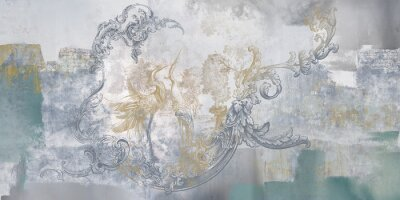 Wall mural Wall mural, wallpaper, in the style of classic, baroque, modern, rococo. Wall mural with birds and concrete grunge background. Light, delicate photo wallpaper design.