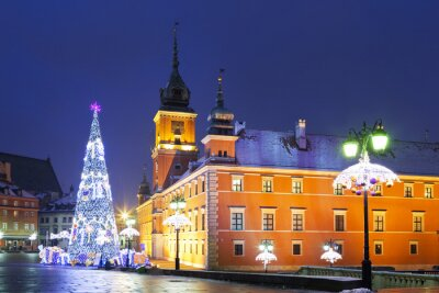 Wall mural Warsaw, Castle square in the Christmas holidays
