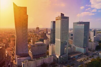 Wall mural Warsaw downtown - aerial photo of modern skyscrapers at sunset