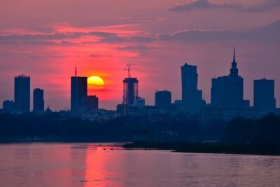 Wall mural Warsaw Downtown sunset
