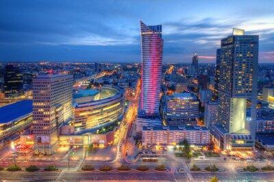 Wall mural Warszawa wieczorna panorama miasta
